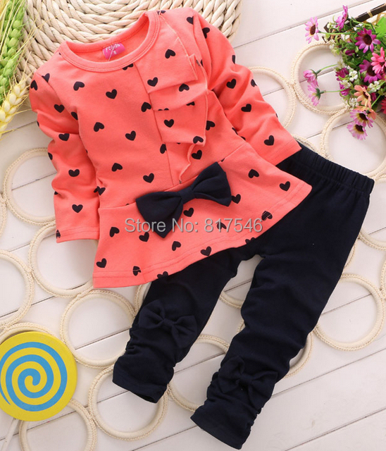2014 New Autumn Baby Girl Clothing Heart-shaped Print Bow Cute Cloth Set Children Suit Top T-shirt + Pants - Love Naccy's store
