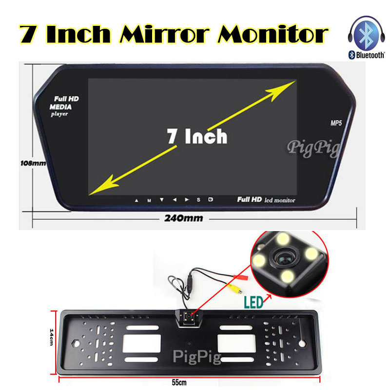 Car licence plate Back up Camera with 7 inch Bluetooth MP5 TFT LCD Display Screen monitor mirror USD/FM slot Parking Assist(China (Mainland))