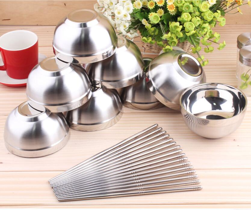 New Stainless Steel Bowl,8 pcs Bowls and 8 pairs of Chopsticks,Excellent Quality Soup Bowl,Vacuum Stainless Steel Baby Lunch Box(China (Mainland))