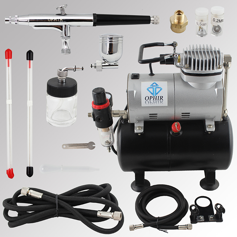 OPHIR Pro Dual-Action Airbrush 3 Tips 0.2mm 0.3mm 0.5mm with Mini Air Compressor for Nail Art Body Paint 110V,220V_AC090+AC074