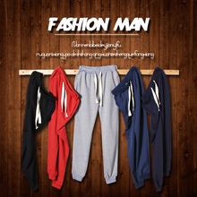 Spring and summer men's casual pants, jogging pants trend fashion lovers solid color pants feet Slim pants large size male S-5XL