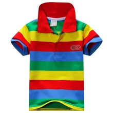 Neue Sommer 1-7Y Baby Kinder Jungen Gestreiften T-shirts Kinder Tops Sport T Polo Shirts Kleidung(China (Mainland))