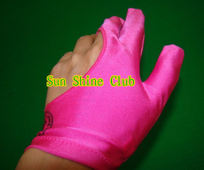 Free shipping 5pcs/lot high Elasticity 3 finger Pink billiard gloves/Pool Table Snooker billiard table Gloves(China (Mainland))