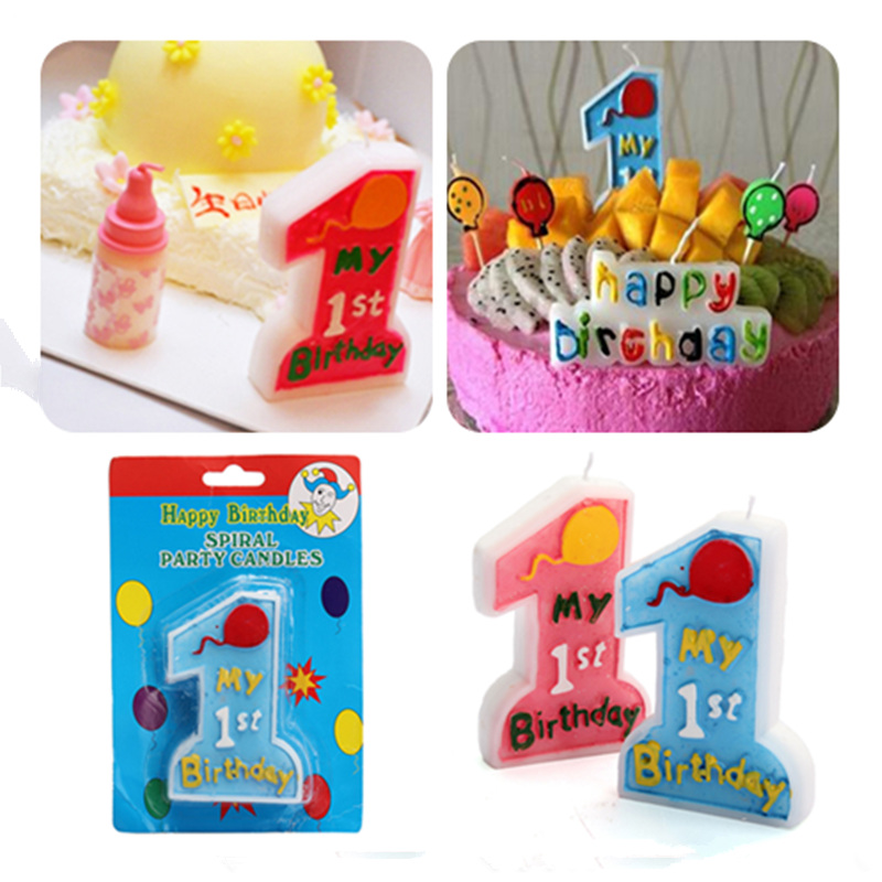 1Pcs Birthday Cake Candle Big Arabic numerals One My 1st Shape Bule Pink Pattern Party Suppilies Wax Decoration Children Gift(China (Mainland))