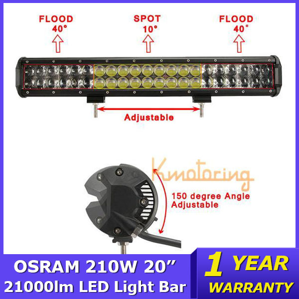 "High Power 210W 20"" Dual Row OSRAM LED Light Bar Beam Combo 4x4 Offroad Light Wagon AWD SUV Truck 4WD SUV Led Work Light 12V/24V(China (Mainland))"