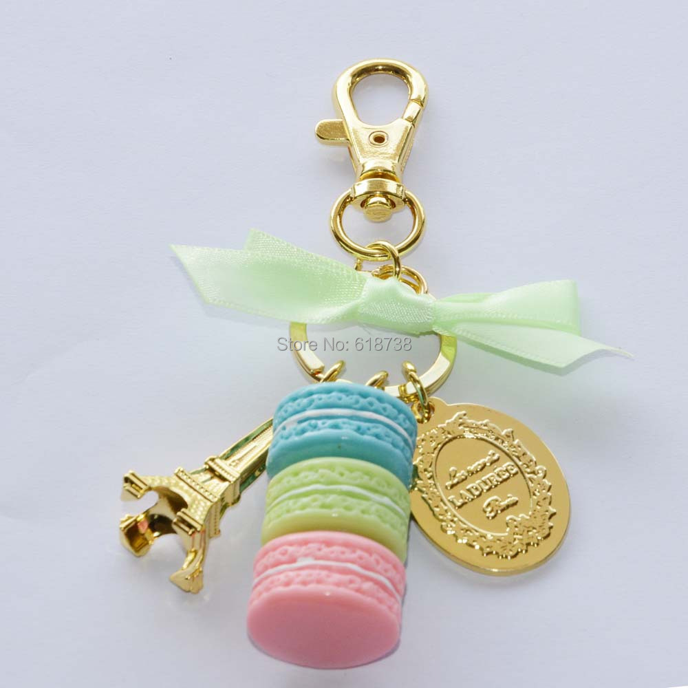 Big size laduree macaron key chain-green.JPG