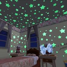 1Set/100PCS Kids Bedroom Beautiful Fluorescent Glow In The Dark Stars Wall Stickers Free Shipping(China (Mainland))