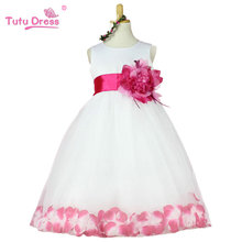 Free shipping! 2015 summer girls dress girls rose petal hem dress color cute princess dress girls baby dress