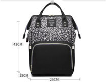 Детская сумка, рюкзак для путешествий с леопардовым принтом, Детская сумка для мамы, подгузники, сумка для коляски, большая вместительность,...(China)