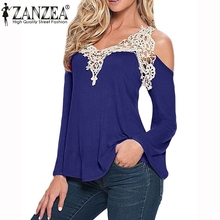 2016 New Autumn Women Blouses Sexy Off Shoulder Blouse Elegant Lace V Neck Shirt Ladies Long Sleeve Tops Blusas Plus Size(China (Mainland))