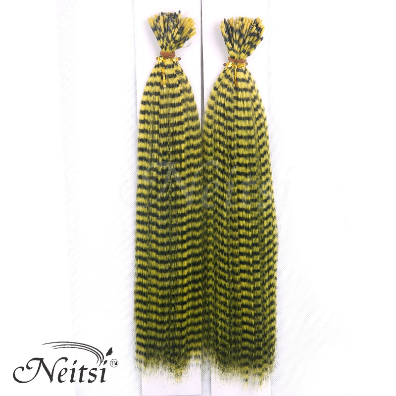 Neitsi 50 pcs/pack Fashion New Rooster GRIZZLY Zebra Lines Natural Feathers Hair Extensions Vivid Color #Yellow Free Shipping