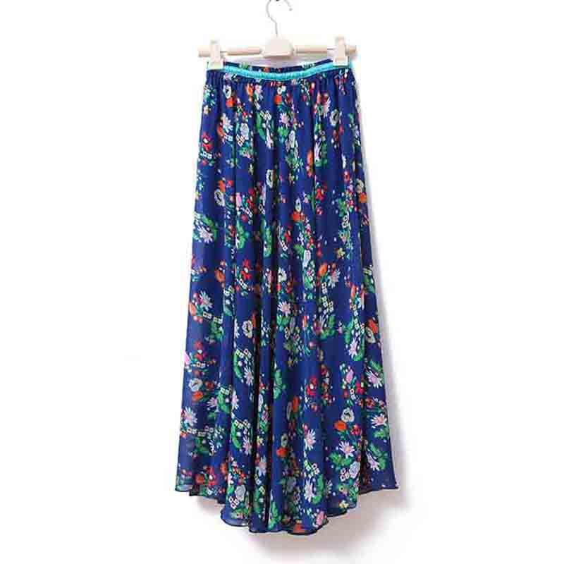 Summer Long Skirt Womenu0026#39;s Clothes Flower Print Bohemian Maxi Skirt Beach Skirts 90cm Length Dark ...
