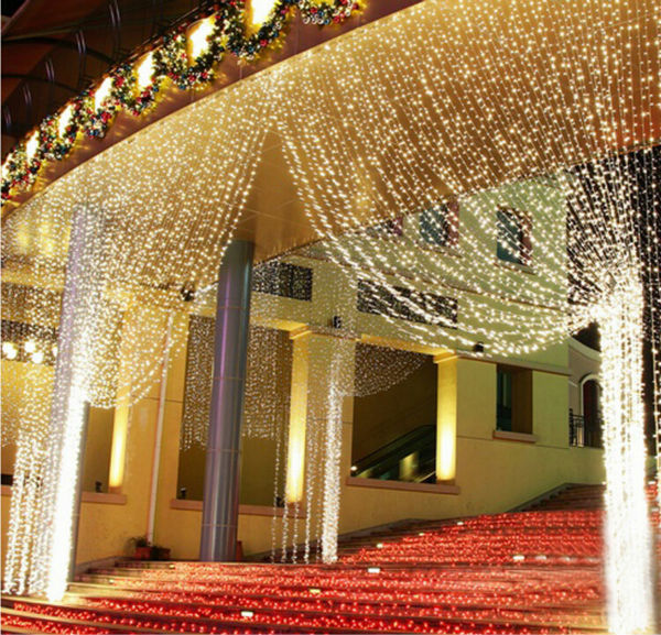 Romantic led christmas light tree wedding party for Window net lights