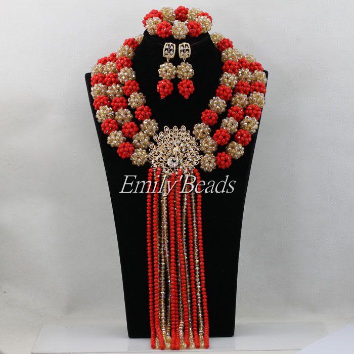 Luxury Red Indian Bridal Costume Jewelry Set African Wedding Nigerian Beads Balls Jewellery Set 2016 Hot Free Shipping AIJ462<br><br>Aliexpress