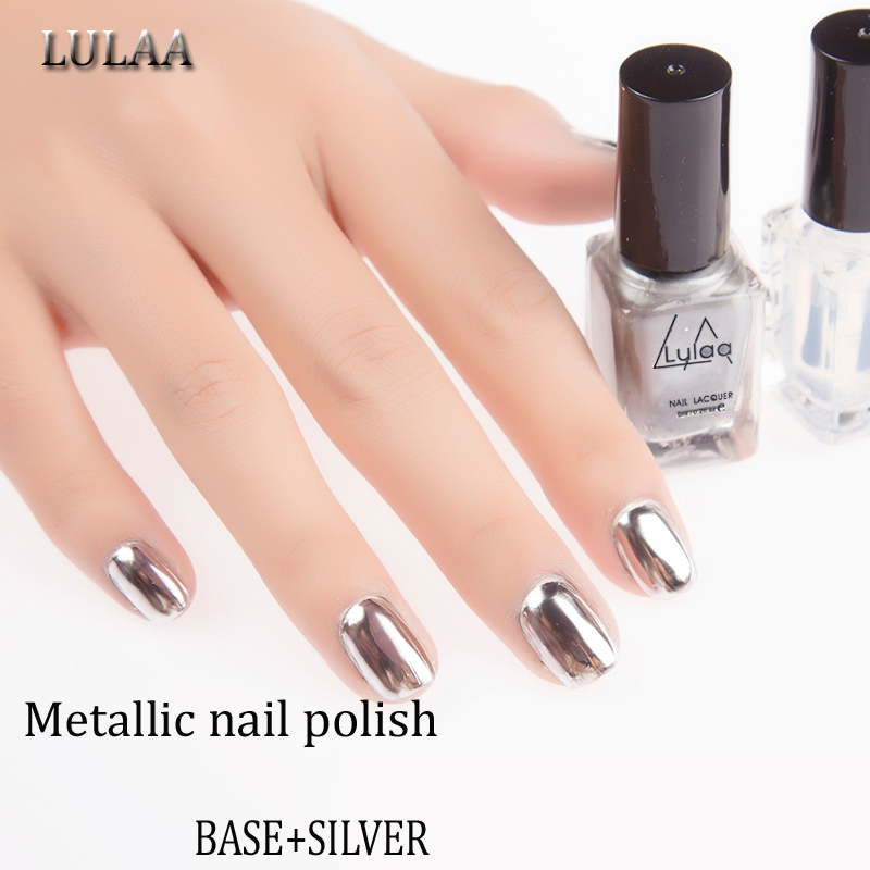 LULAA 2pc/lot 6ml Metallic Nail Polish Silver Mirror Effect Nail Varnish+BASE Coat Shinning Nail Art Polish-GD(China (Mainland))