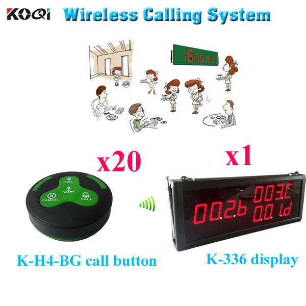 Wireless Waiter Service Paging Call Calling System CE Approved 433.93MHZ Receiver Pager For Hotel (1 display 20 call button)(China (Mainland))