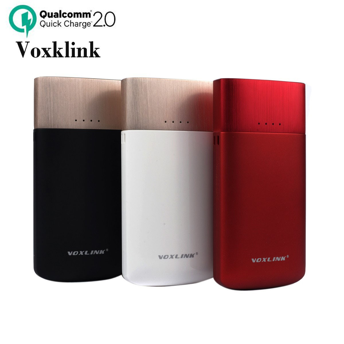 Voxklink Qualcomm Quick Charge 2.0 Portable Dual USB Power Bank 9000mAh 5V 2.4A Charging Powerbank For iPhone Samsung