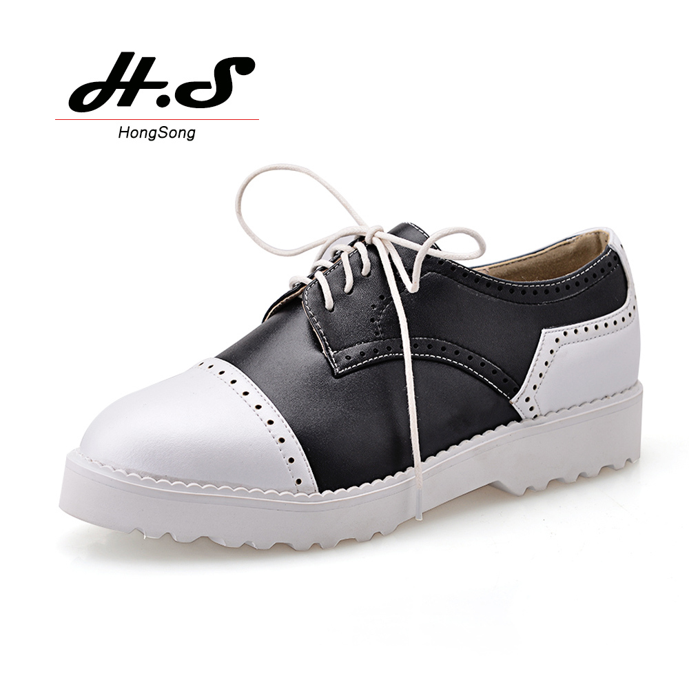 Spring Autumn Genuine Leather Lace Oxfords Womens Mens Casual Round Toe Flats Brogues Oxford Shoes Zapatos Plus Size - Hong Song store