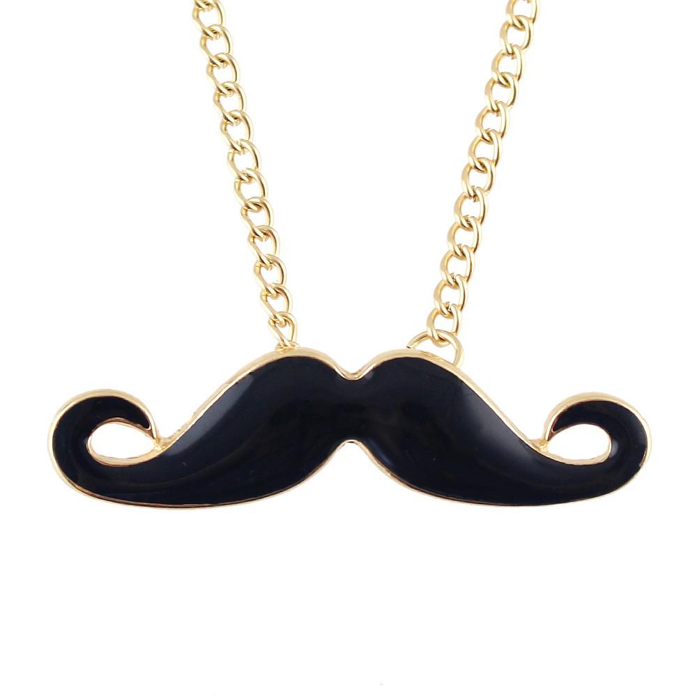 2015 годы Девичьи ожерелье дизайн очаровательные цепь индивидуальных золотого цвета эмали черные усы кулон ожерелье collane e ciondoli