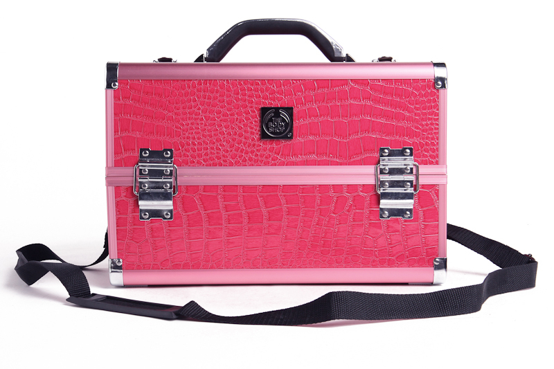 Hot Sale The Body Shop High Grade Rose Crocodile Pattern Aluminum Cosmetic Case Make-up Tool Case Makeupe Case(China (Mainland))