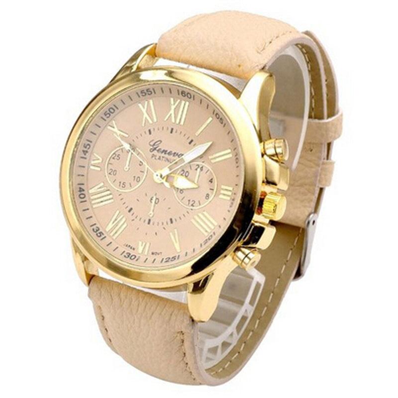 luxury gold geneva s geneva pu leather analog