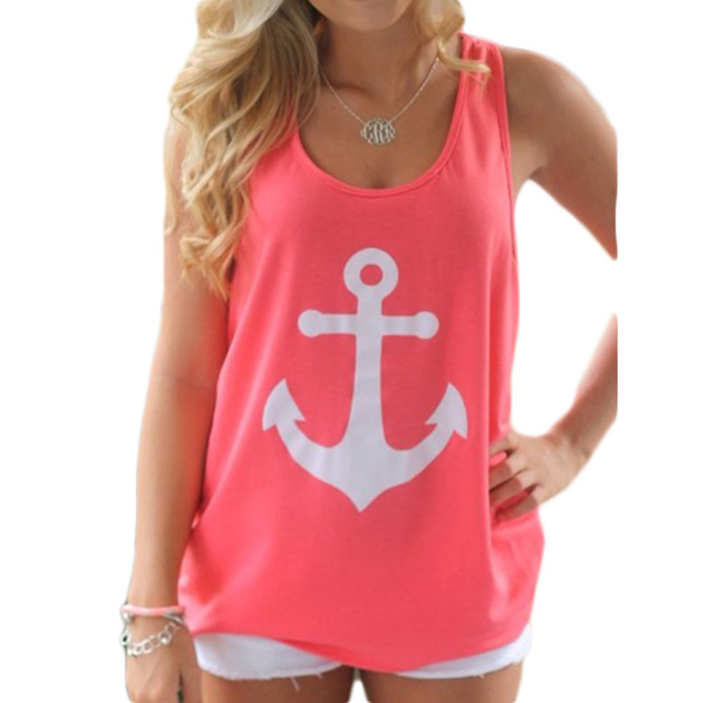 2015 new Fashion Women Summer Anchor print Vest shirts sexy backless Bow Casual Tank Tops Summer