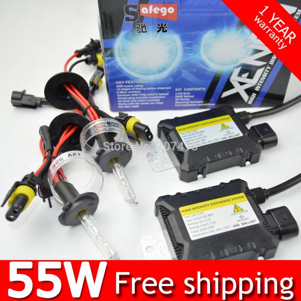 55W hid kit xenon H11 H7 H4 H1 H3 H8 H10 HB4 9006 HB3 9005 880 H27 D2S 9007 4300K 6000K 8000k 55W HID xenon kit Car headlight(China (Mainland))
