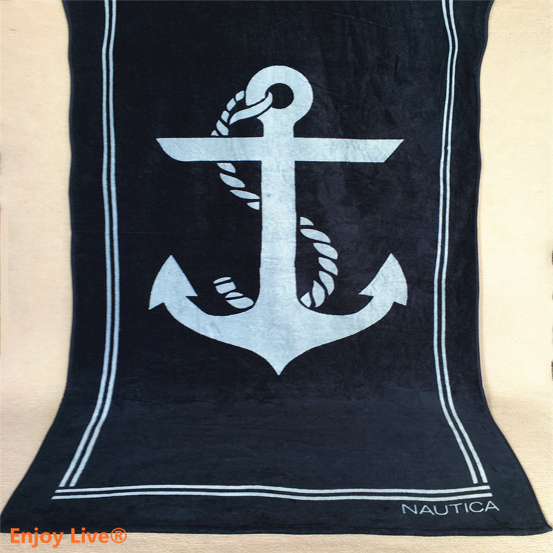 1pcs Extra Large Size 170*90cm Swimming Shower Picnic Sports Gym Bath Beach Towels Brand Quality Cotton Anchor Pattern(China (Mainland))