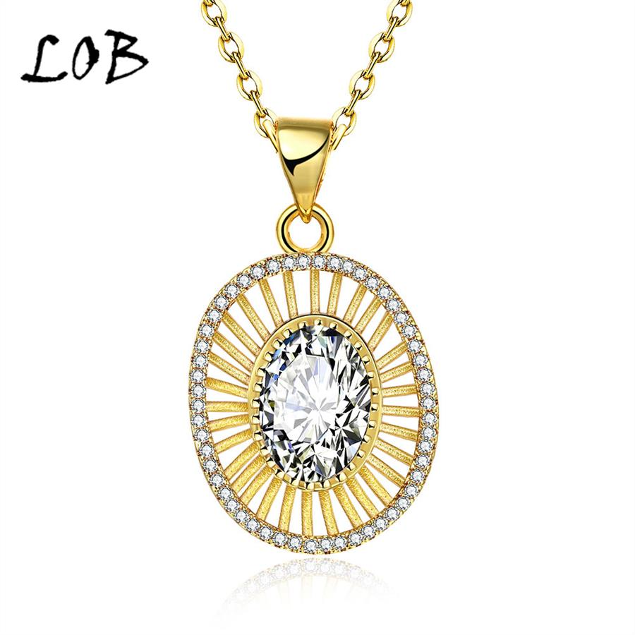 New Arrival 18K Gold Plated Shiny CZ Hollowed Pendant Necklaces Women Link Chain Necklace N136(China (Mainland))