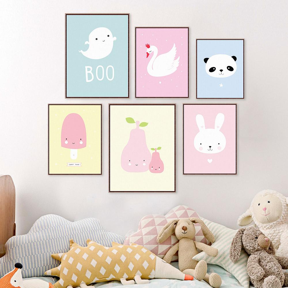 Kawaii Animal Panda Poster Print A4 Modern Nordic Cartoon Nursery Wall Art Picture Kids Baby Room Decor Canvas Painting No Frame(China (Mainland))