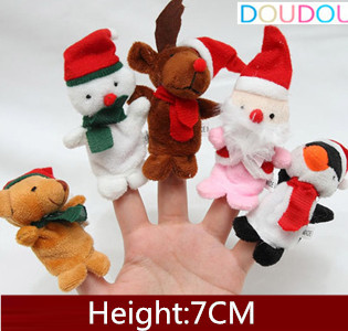 5pcs Christmas puppets Puppet Santa Claus Snowman Deer Bear Penguin Plush Finger Puppet Play Game/Learn/Story Baby Toys(China (Mainland))