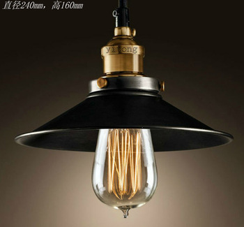 Free shipping copper base black single cord black cover + Edison bulb lighting vintage restaurant lamps bar pendant lights<br><br>Aliexpress
