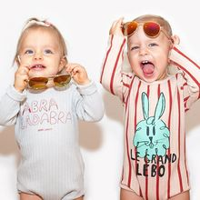 2016 NEW BOBO CHOSES Romper Boy Girl Pink Heart Rabbit Print Infants Romper Baby Clothes Jumpsuit KIDS 2016 Autumn Kikikids bebe(China (Mainland))