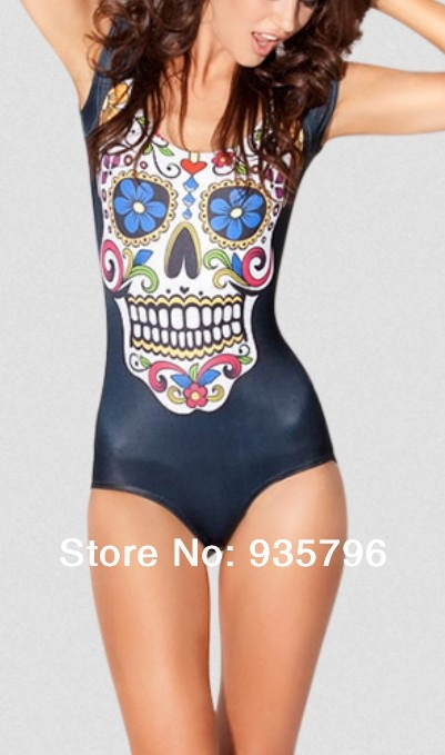 one piece swimwear Skull Galaxy bathing suits women 2014 Sugar Black Cap Sleeve Swimsuit - Huimani store