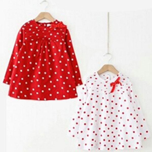 Toddler Baby Girls Polka Dots Bowknot Long Sleeve Cotton T-shirt Dress 2-7T the one SM65(China (Mainland))