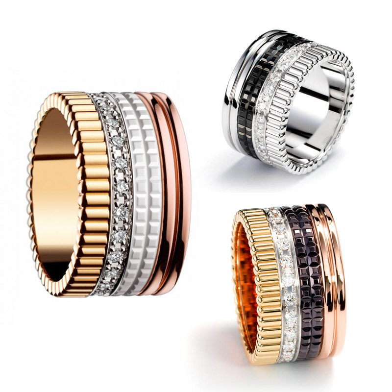 DASR064 Free Shipping stainless steel ring new fashion bon ring jewelry BS rings steel luxury wedding 4 band rings 2014 style