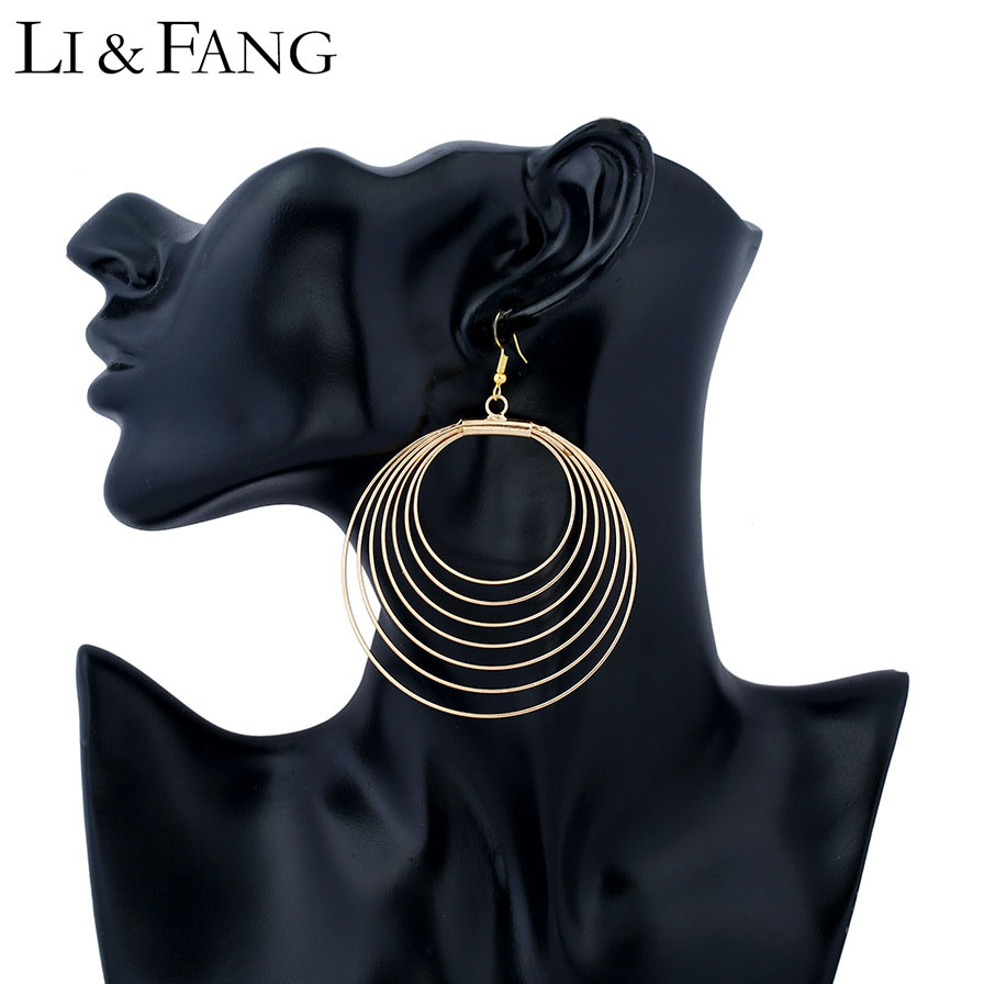 Li & Fang Brand Dangle Earrings Wholesale Bohemian Style 2017 Color Simple Circle Drop Earrings Women Designer Vintage