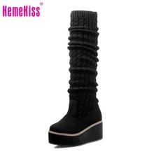 Las mujeres botas de plataforma sobre la rodilla botas de montar de invierno bota de la nieve caliente calzado zapatos de tacón de moda masculina zapatos P19846 tamaño 31-43(China (Mainland))