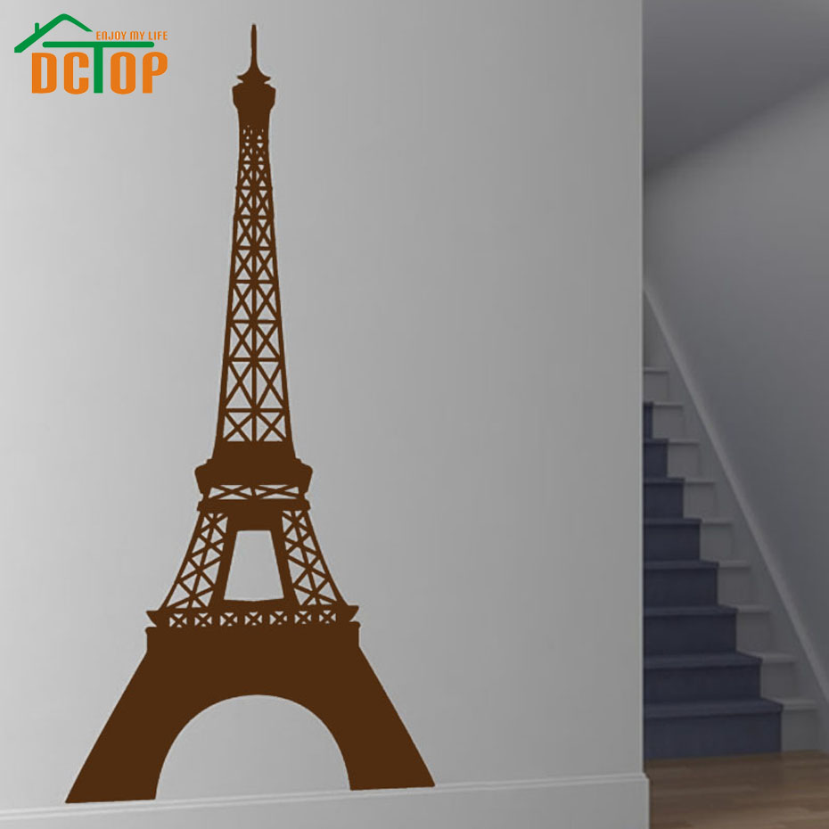 Dctop paris landmark eiffel tower wall sticker vinyl removable home decor decals hollow out - Eiffel tower decor for bedroom ...