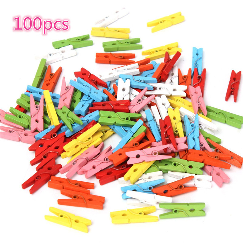 Wholesale 100 Pcs Beautiful Design 25mm Mini Color Wooden Craft Pegs Clothes Paper Photo Hanging Spring Clips for Message Cards(China (Mainland))