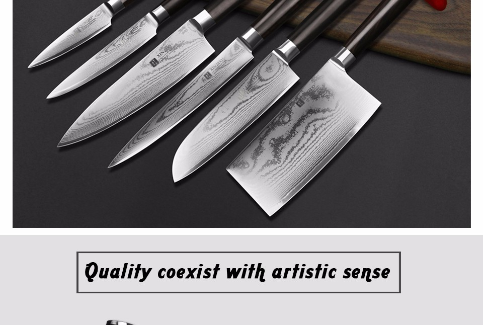 "Buy XINZUO 8"" inch Japan VG10 cleaver knife Damascus steel kitchen knives slicing/Carving knife with ebony wood handle FREE SHIPPING cheap"