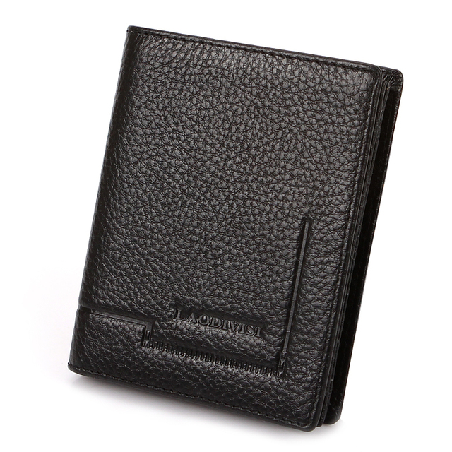 Free shipping New Men's Genuine Leather Bi-Fold Wallet black