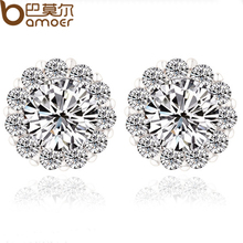 High Quality Round Design AAA+ Swiss CZ Crystal Silver Color Stud Earring for Wedding Romantic Bamoer Jewelry YIE006(China (Mainland))