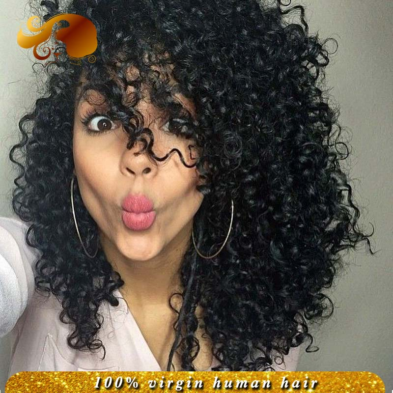 Фотография Short Unprocessed Peruvian Kinky Curly Virgin Hair Lace Front Human Hair Wigs Bleached Knots Natural Glueless Full Lace Wig