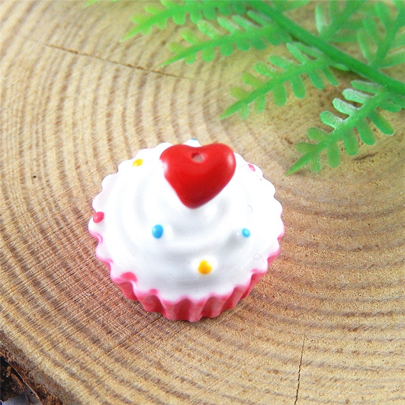 5pcs Artificial Cup Heart Cake Resin Necklace Pendant Charm 17*17mm Lovely Jewelry Dec Flat back Fine Accessories Crafts 51356(China (Mainland))