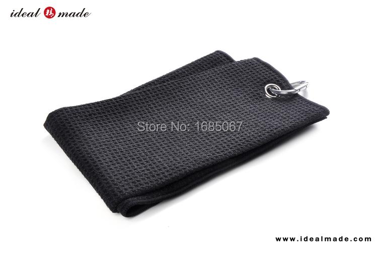 Microfiber Golf Towel carabiner Clip BLACK..Personalized Sport Towels(China (Mainland))