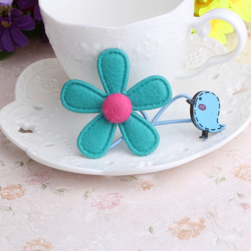 New Style Cloth Flower Elastics Hair Accessories Children Accessories Flower Scrunchy Cartoon Birds Girls Elastic Hair Bands(China (Mainland))