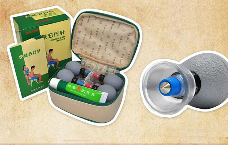 Classic Style 12 PCS wuxing needle negative pressure cupping massage health care magnetic therapy acupuncture and moxibustion(China (Mainland))