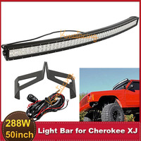 50'' Curved 288W CREE Offroad LED Light Bar + Mounting Brackets Off Road Upper Roof Driving Lamp For Jeep Cherokee XJ 1984~2001
