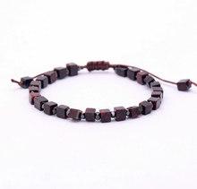 Mężczyźni bransoletka plac kamień naturalny koraliki bransoletka Handmade przyjaźń bransoletki męskie Charm bransoletka biżuteria punkowa(China)